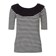 Buy Hobbs Bess Bardot Top, Navy/Ivory Online at johnlewis.com