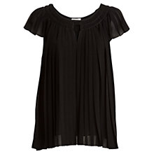 Buy Max Studio Cap Sleeve Pleated Top, Black Online at johnlewis.com
