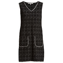 Buy Max Studio Sleeveless Knitted Check Dress, Black Online at johnlewis.com