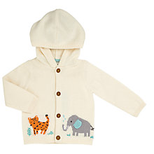 Buy John Lewis Baby Elephant and Friends Hooded Cardigan, Cream Online at johnlewis.com