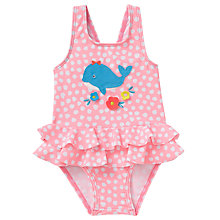 Buy John Lewis Baby Whale Appliqué Swimsuit, Pink Online at johnlewis.com