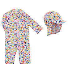 Buy John Lewis Baby Ditsy Floral SunPro Swimsuit and Hat, Multi Online at johnlewis.com