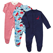 Buy John Lewis Baby GOTS Organic Cotton Dinosaurs and Stripe Sleepsuit, Pack of 3, Blue/Red Online at johnlewis.com