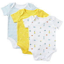 Buy John Lewis Baby GOTS Organic Cotton Nautical Bodysuits, Pack of 3, Yellow/Multi Online at johnlewis.com