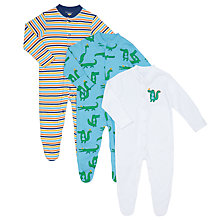 Buy John Lewis Baby Stripe Crocodile Organic GOTS Cotton Sleepsuit, Pack of 3, Green/Multi Online at johnlewis.com