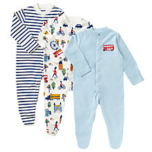 Buy John Lewis Baby London Bus Sleepsuit, Pack of 3, Blue/Multi Online at johnlewis.com