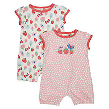 Buy John Lewis Baby Strawberry Romper, Pack of 2, Pink Online at johnlewis.com
