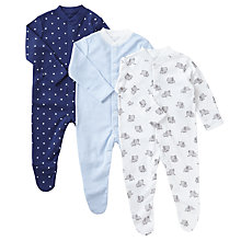 Buy John Lewis Baby Elephant Stars Long Sleeve Organic GOTS Cotton Sleepsuit, Pack of 3, Blue/White Online at johnlewis.com