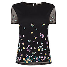 Buy Oasis V&A Mesh T-Shirt, Black Online at johnlewis.com