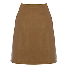 Buy Oasis Suedette Patched A-Line Skirt, Tan Online at johnlewis.com
