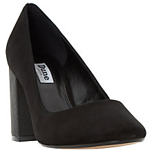 Buy Dune Acapela High Block Heel Court Shoes, Black Suede Online at johnlewis.com