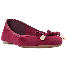 Buy Dune Hero Leather Ballet Pumps, Berry Online at johnlewis.com