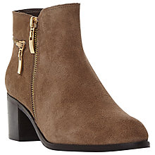 Buy Dune Pemberl Block Heel Ankle Boots, Taupe Suede Online at johnlewis.com