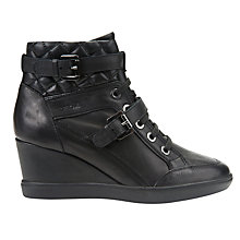 Buy Geox Eleni Wedge Heeled Trainers, Black Online at johnlewis.com
