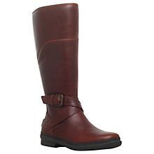 Buy UGG Evanna Knee High Biker Boots, Dark Brown Online at johnlewis.com