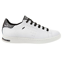 Buy Geox Jaysen Glitter Lace Up Trainers, White/Silver Online at johnlewis.com