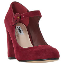 Buy Dune Armorel Mary Jane Block Heel Court Shoes, Burgundy Suede Online at johnlewis.com