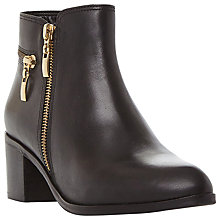 Buy Dune Pemberl Block Heel Ankle Boots, Black Leather Online at johnlewis.com