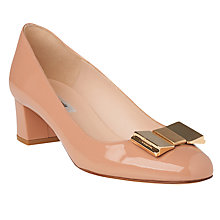 Buy L.K. Bennett Emelia Bow Block Heeled Court Shoes, Fawn Online at johnlewis.com