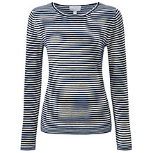 Buy Pure Collection Belmont Cashmere Jumper, Iced Grey/Navy Online at johnlewis.com