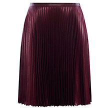 Buy Karen Millen Wetlook Pleated Skirt, Aubergine Online at johnlewis.com