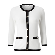 Buy Precis Petite Ella Contrast Trim Cardigan, White/Black Online at johnlewis.com