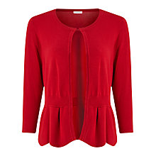 Buy Precis Petite Scallop Peplum Cardigan, Red Online at johnlewis.com