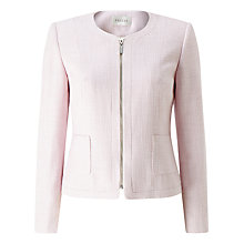 Buy Precis Petite Eva Zip Front Textured Jacket, Pale Pink Online at johnlewis.com