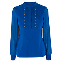 Buy Karen Millen Eyelet Detail Shirt, Teal Online at johnlewis.com
