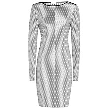 Buy Reiss Auguste Jersey Bodycon Dress, White/Black Online at johnlewis.com