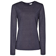 Buy Reiss Milly Button Back Long Sleeve Jersey Top, Navy Online at johnlewis.com