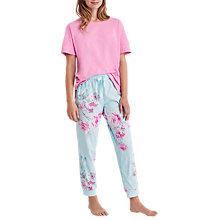 Buy Joules Siesta Floral Print Jersey Pyjama Bottoms, Aqua Online at johnlewis.com