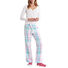 Buy Joules Fleur Checked Pyjama Bottoms, Aqua/Pink Online at johnlewis.com