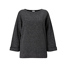 Buy Jigsaw Slouchy Herringbone Sweatshirt, Charcoal Online at johnlewis.com