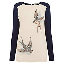 Buy Oasis Sashiko Bird Print Top, Navy Online at johnlewis.com