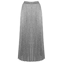 Buy Warehouse Pleated Skirt, Silver Online at johnlewis.com