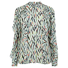 Buy Warehouse Zig Zag Print Ruffle Blouse, Multi Online at johnlewis.com