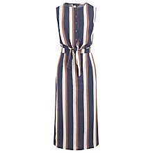 Buy Warehouse Stripe Tie Front Dress, Blue Online at johnlewis.com