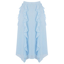 Buy Warehouse Ruffle Midi Skirt, Light Blue Online at johnlewis.com
