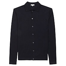 Buy Reiss Oracle Merino Wool Polo Cardigan, Navy Online at johnlewis.com