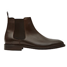 Buy Reiss Tenor Leather Chelsea Boots, Dark Brown Online at johnlewis.com