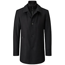 Buy HUGO by Hugo Boss Barelto Virgin Wool-Blend Coat, Black Online at johnlewis.com