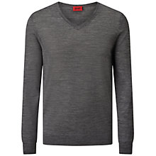 Buy HUGO by Hugo Boss San Carlo V-Neck Slim Fit Jumper, Medium Grey Online at johnlewis.com