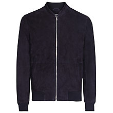 Buy Reiss Sussex Suede Bomber Jacket, Navy Online at johnlewis.com