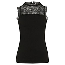 Buy Oasis Lace Insert Top, Black Online at johnlewis.com