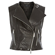 Buy Karen Millen Leather Biker Gilet,  Black Online at johnlewis.com