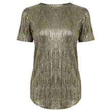 Buy Oasis Metallic T-Shirt, Gold Online at johnlewis.com