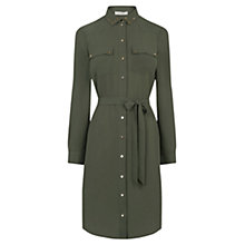Buy Oasis Studded Utility Shirt Dress, Khaki Online at johnlewis.com
