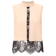 Buy Miss Selfridge High Neck Lace Shell Top, Mink Online at johnlewis.com