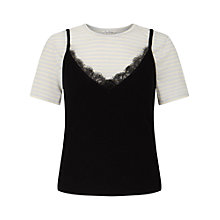 Buy Miss Selfridge 2 in 1 Cami Top, Black/White Online at johnlewis.com